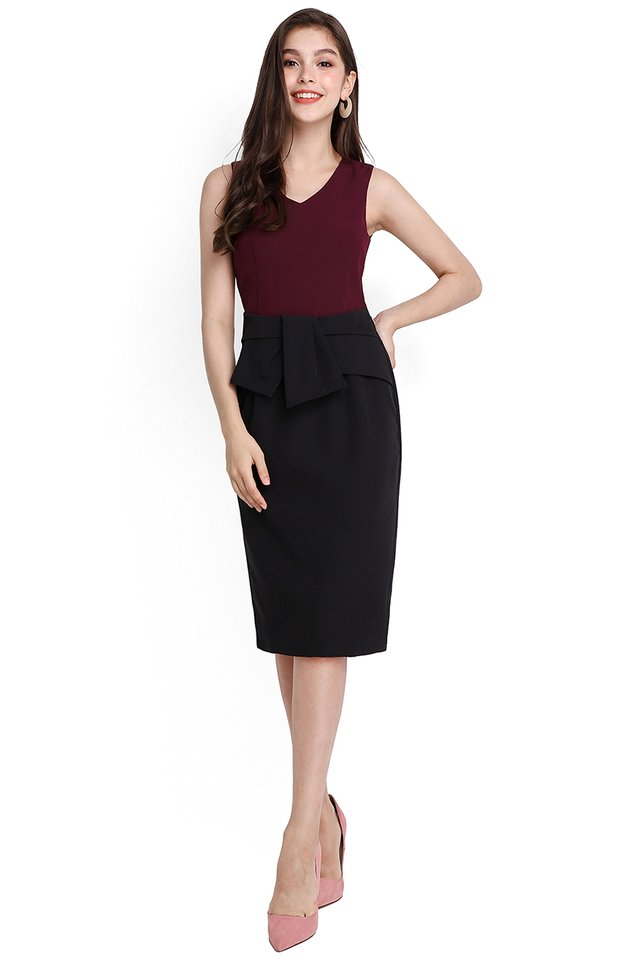 Defining Curves Dress In Wine Black
