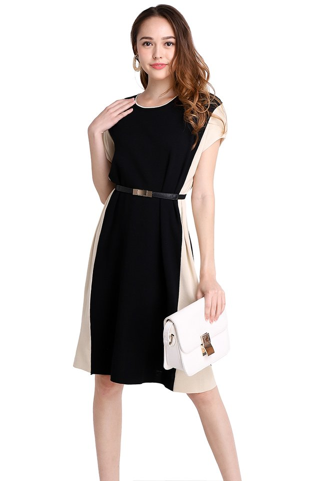 Everyday Style Dress In Black Cream