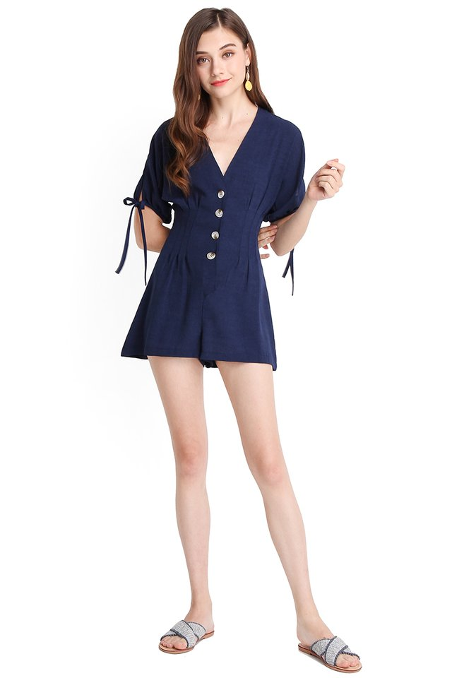 Orlando Getaway Romper In Navy Blue