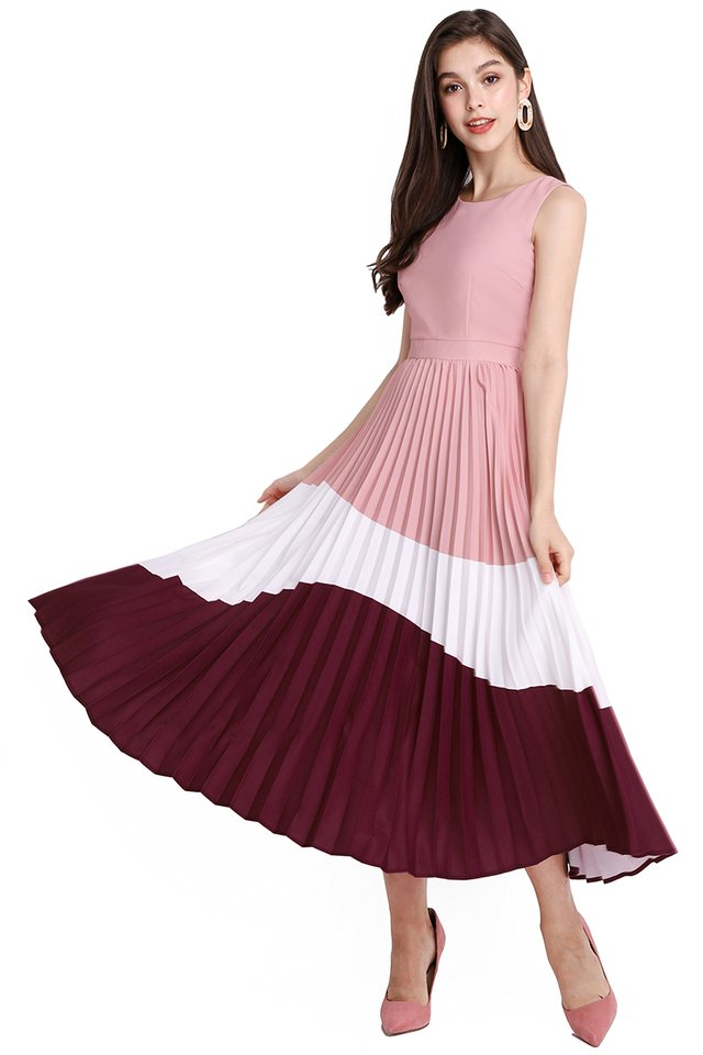 Your Happy Place Dress In Pink Wine