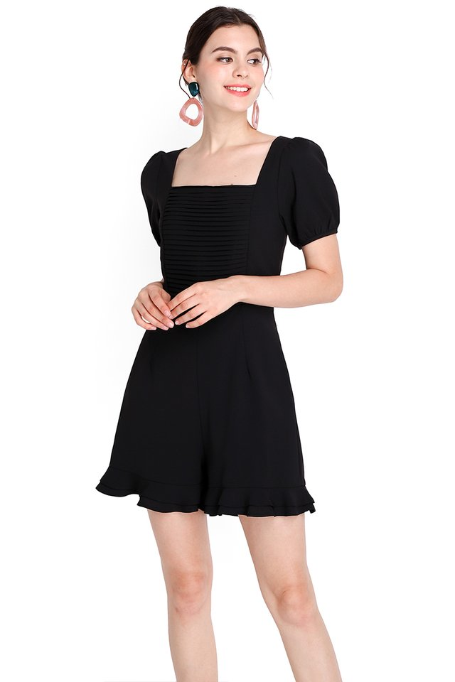 Pretty Pleats Romper In Classic Black