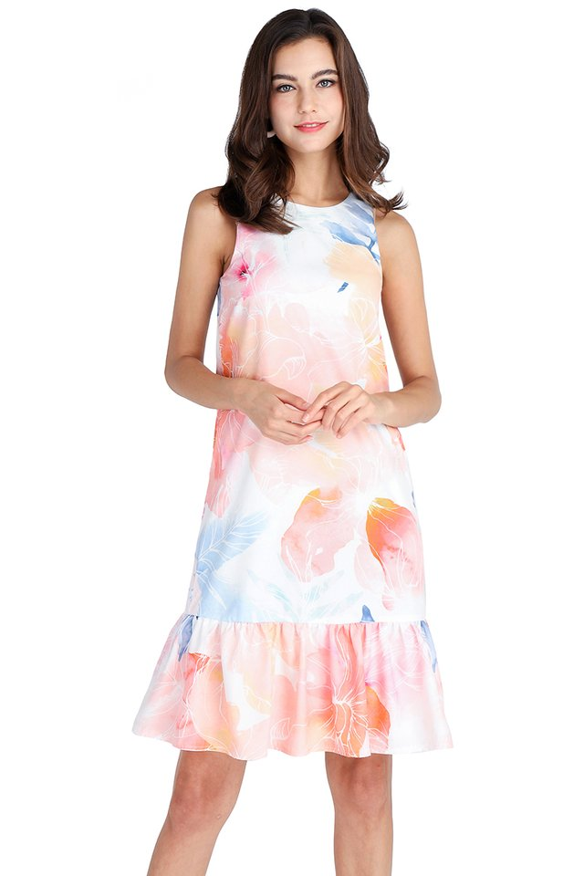 Sunrise Fantasy Dress In Abstract Prints