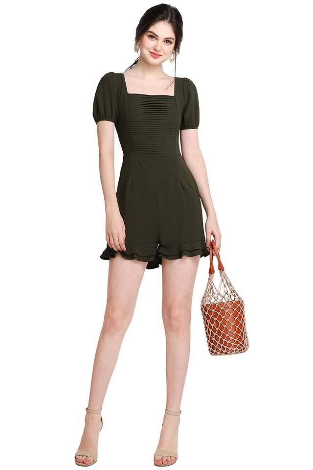 Pretty Pleats Romper In Olive Green