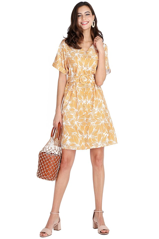 Garden Blossoms Dress In Yellow Prints
