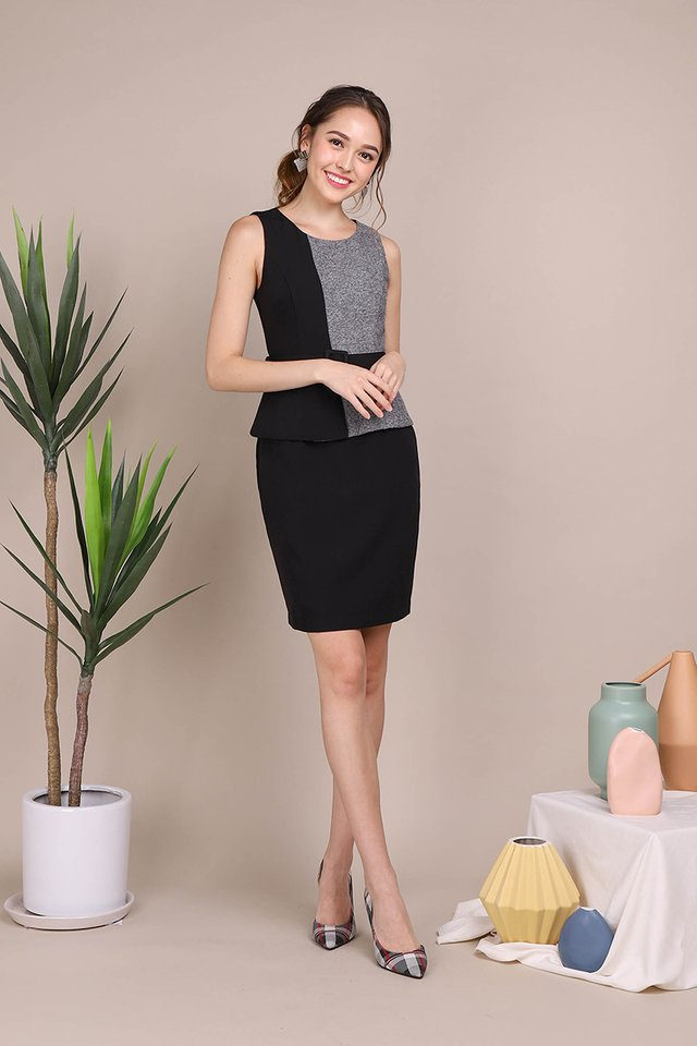 Journey To Success Dress In Black Grey