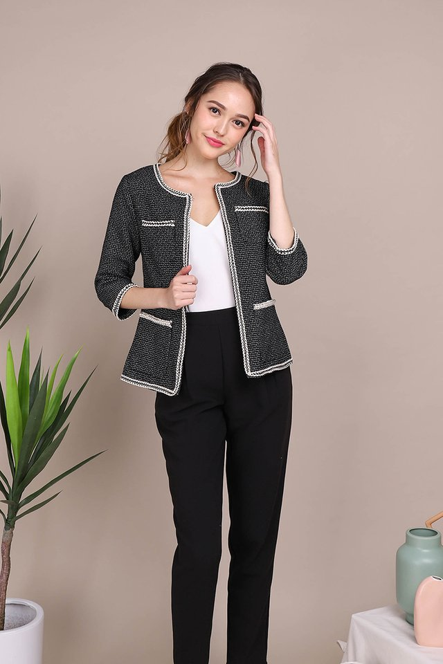 Strut In Confidence Jacket In Black Tweed