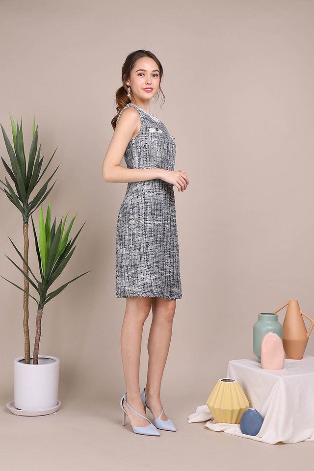 Dazzling Sensation Dress In Blue Tweed