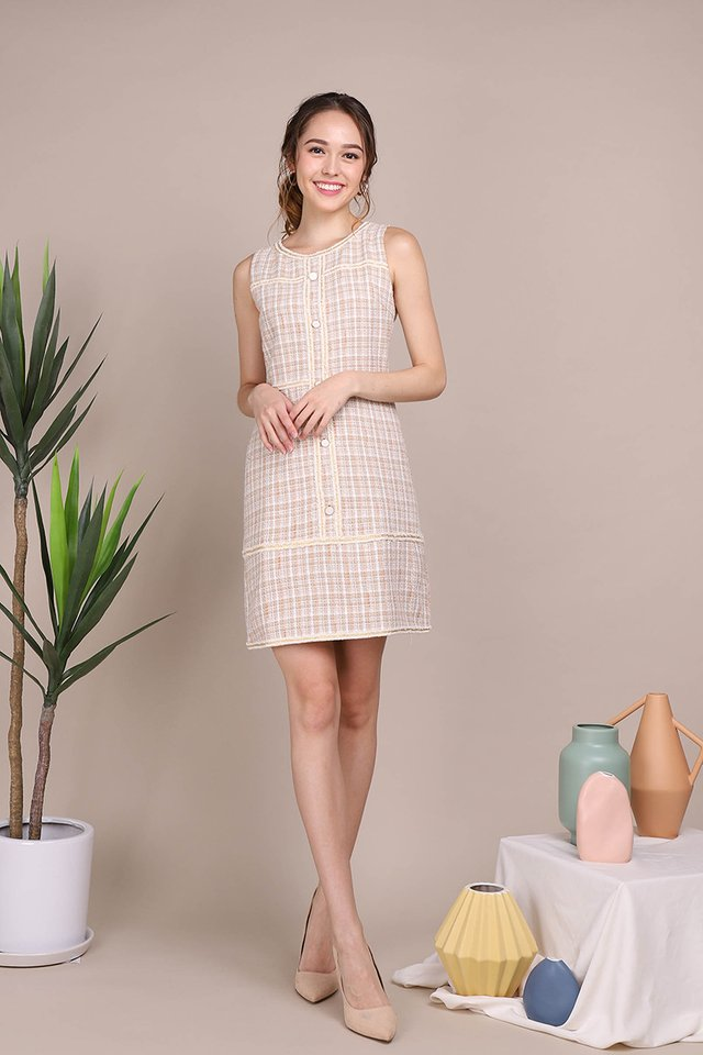 Sweet Admiration Dress In Sand Tweed
