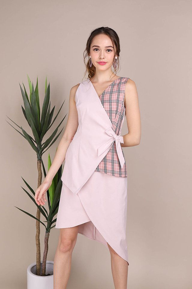 Weekday Glamour Dress In Pink Checks