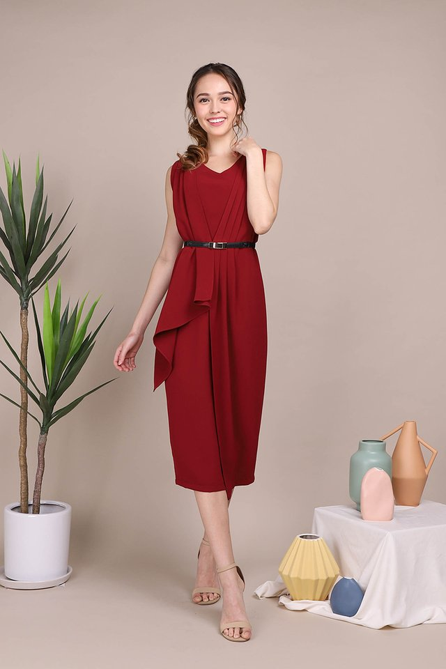 Grand Elegance Dress In Wine Red