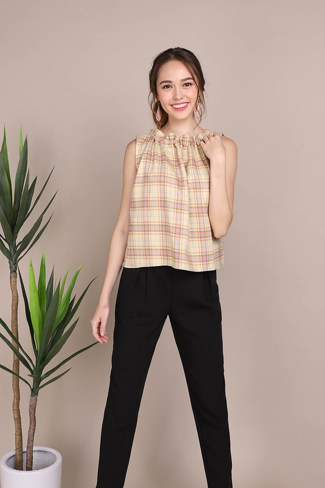 Sunny Greetings Top In Yellow Checks