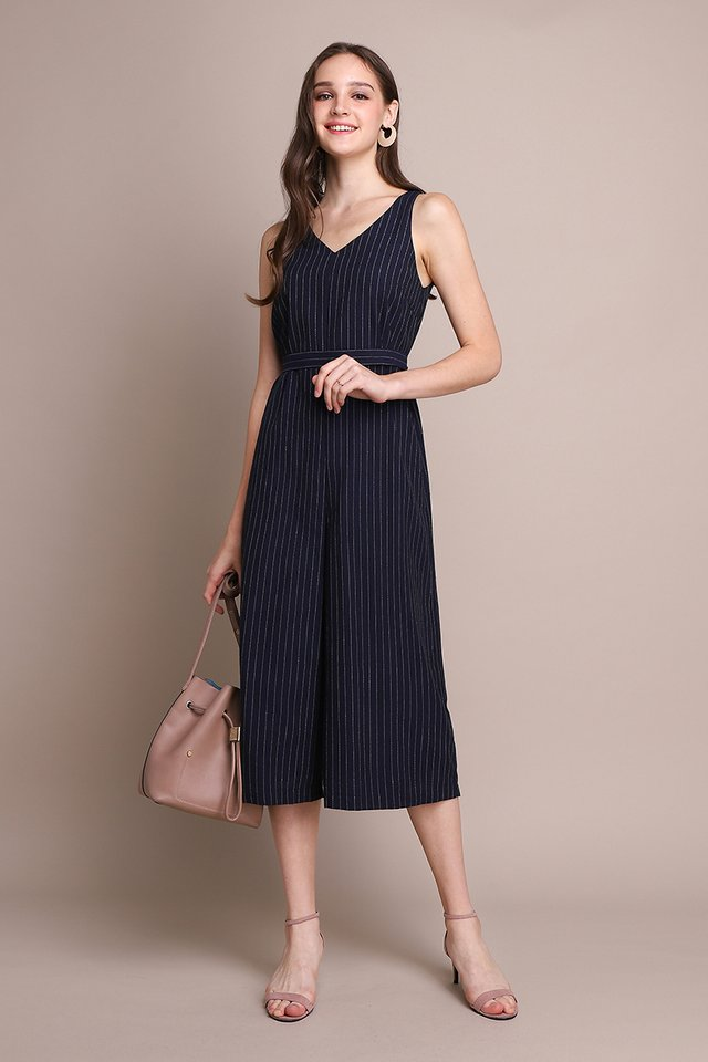 Midtown Manhattan Romper In Blue Stripes