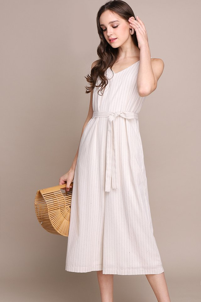 Midtown Manhattan Romper In Cream Stripes