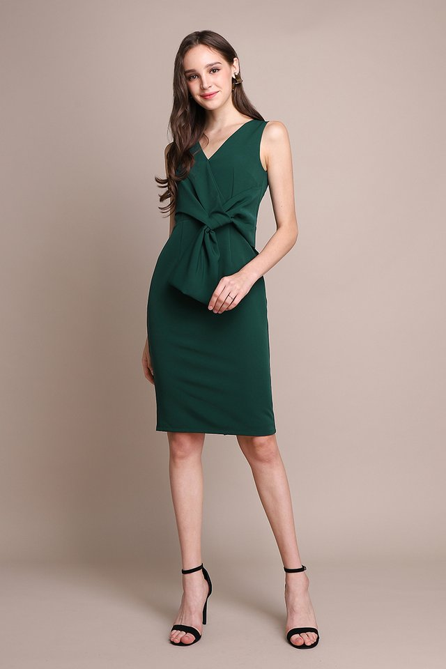 Endless Charm Dress In Forest Green