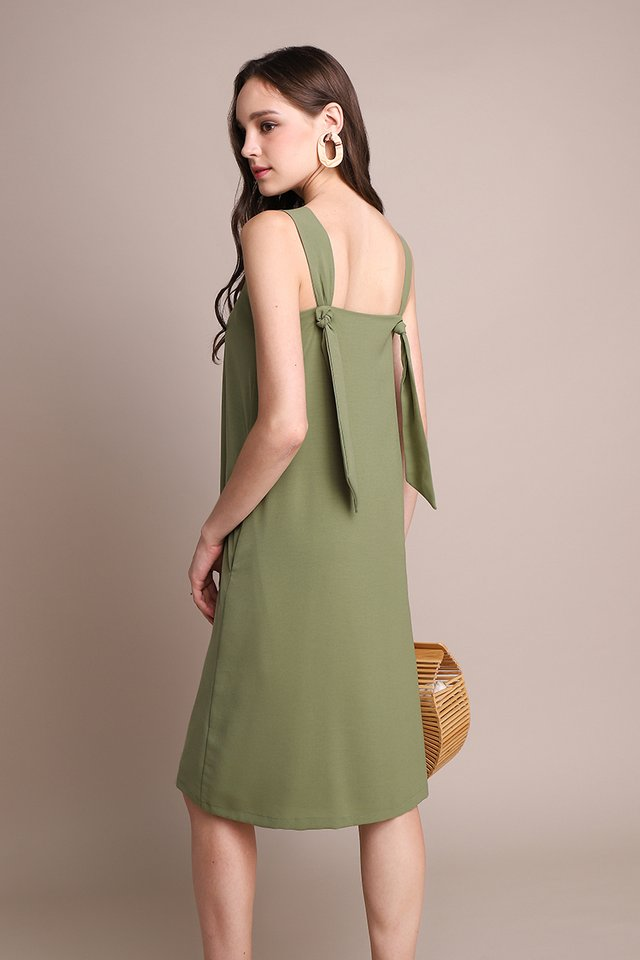 Teatime For Two Dress In Olive Green