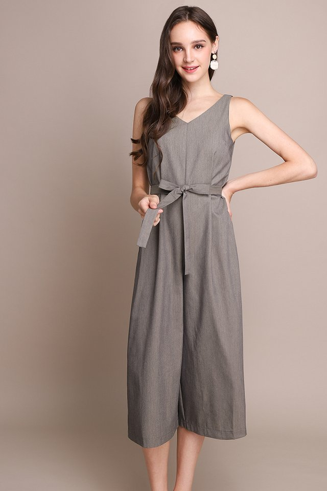 Midtown Manhattan Romper In Heather Brown