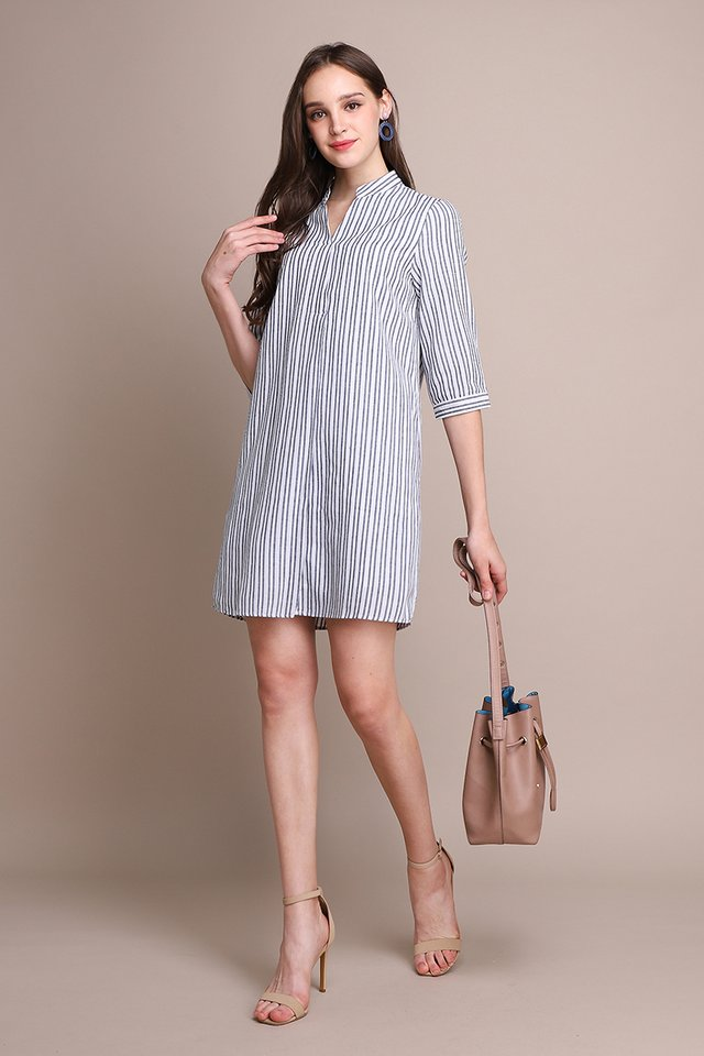 Spring Vibes Dress In Blue Stripes