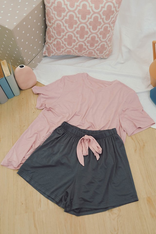 Slumber Party Set In Pink Grey