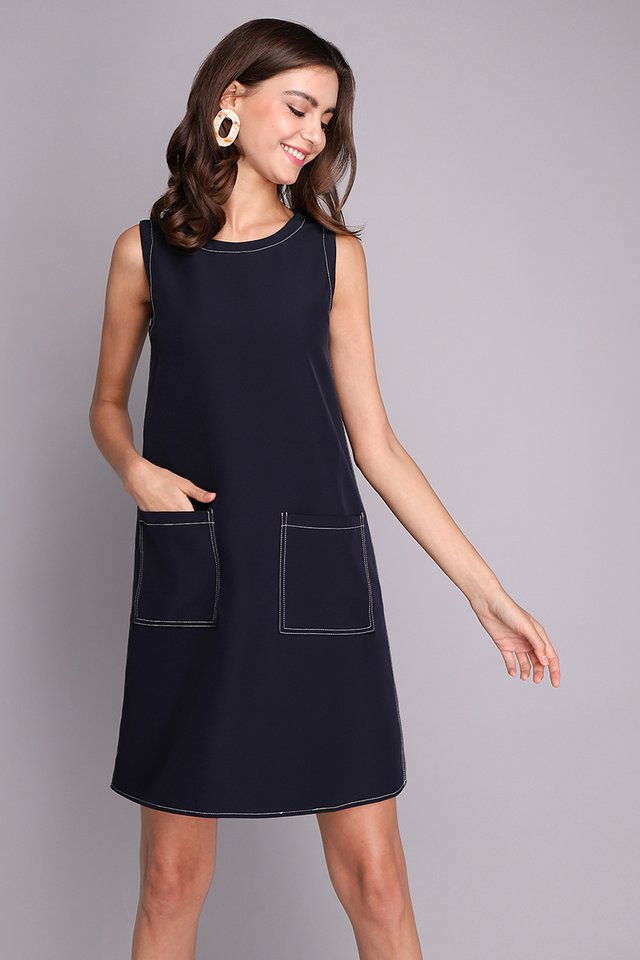Attractive Prospects Dress In Navy Blue