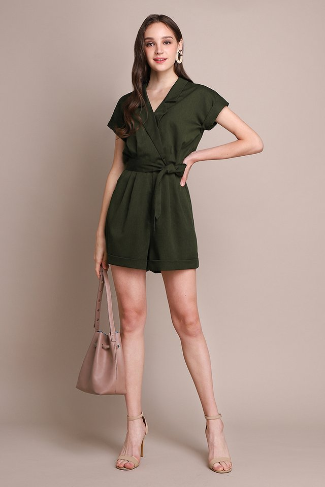 French Belle Romper In Olive Green