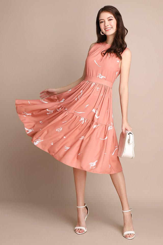 Autumn Swing Dress In Apricot Rose