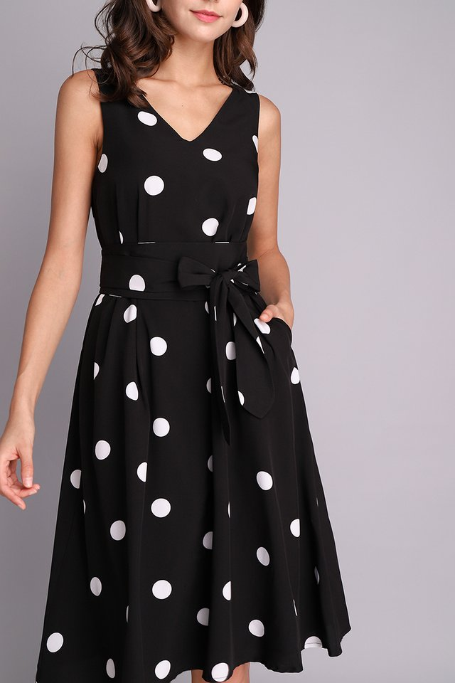 Midnight Symphony Dress In Black Dots