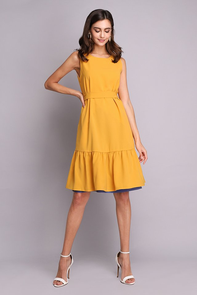 Colours Of Radiance Dress In Blue Mustard