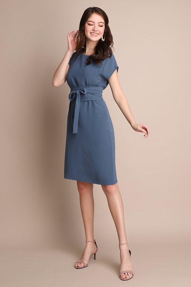 Style Lingo Dress In Muted Blue