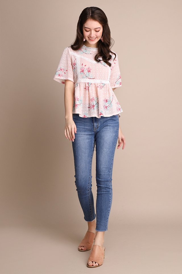 Strawberry Fairies Top In Pink Florals