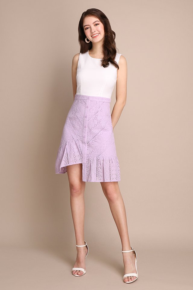 Desk To Date Dress In White Lilac
