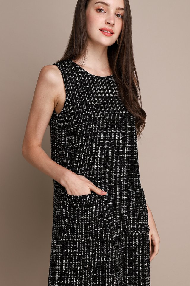 Shine From Within Dress In Black Tweed