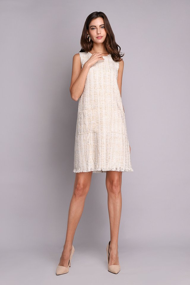 Shine From Within Dress In Cream Tweed