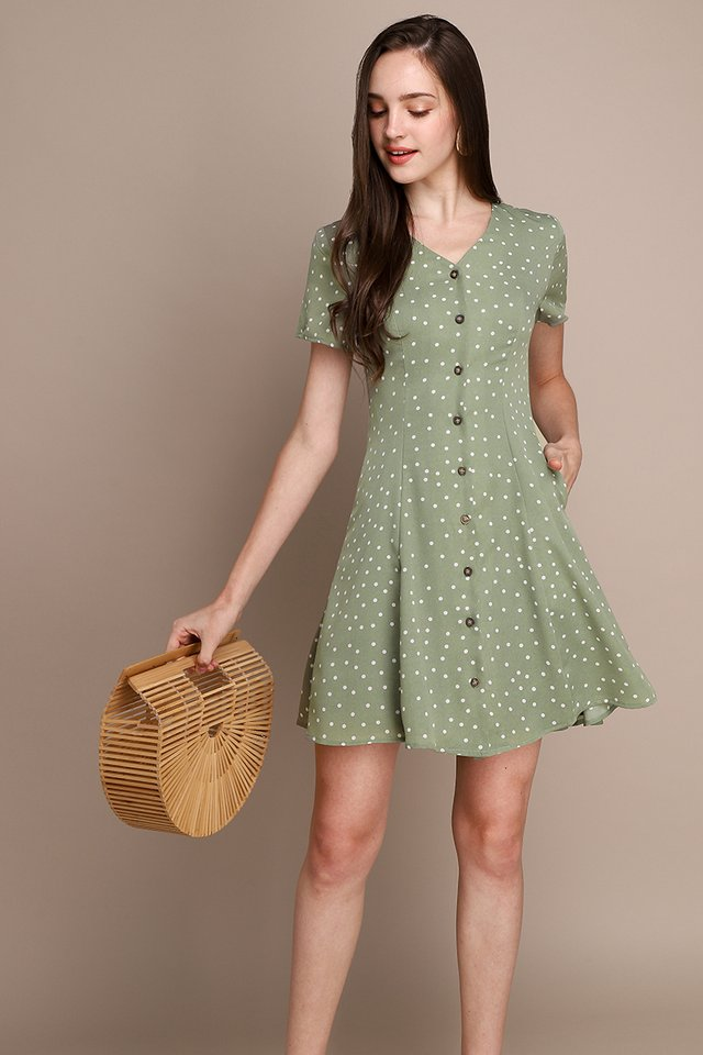 Little Italy Dress In Sage Dots