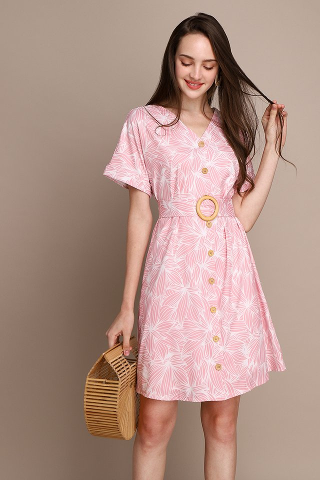 Garden Blossoms Dress In Pink Prints