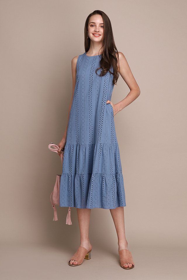 Dreamy Delight Dress In Muted Blue