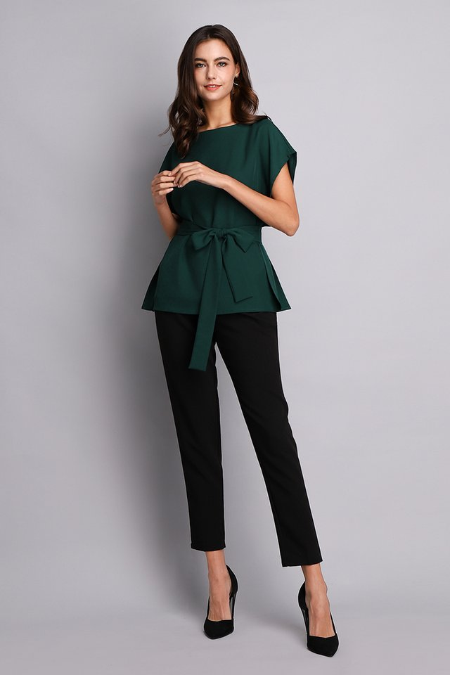 Chic Simplicity Top In Forest Green
