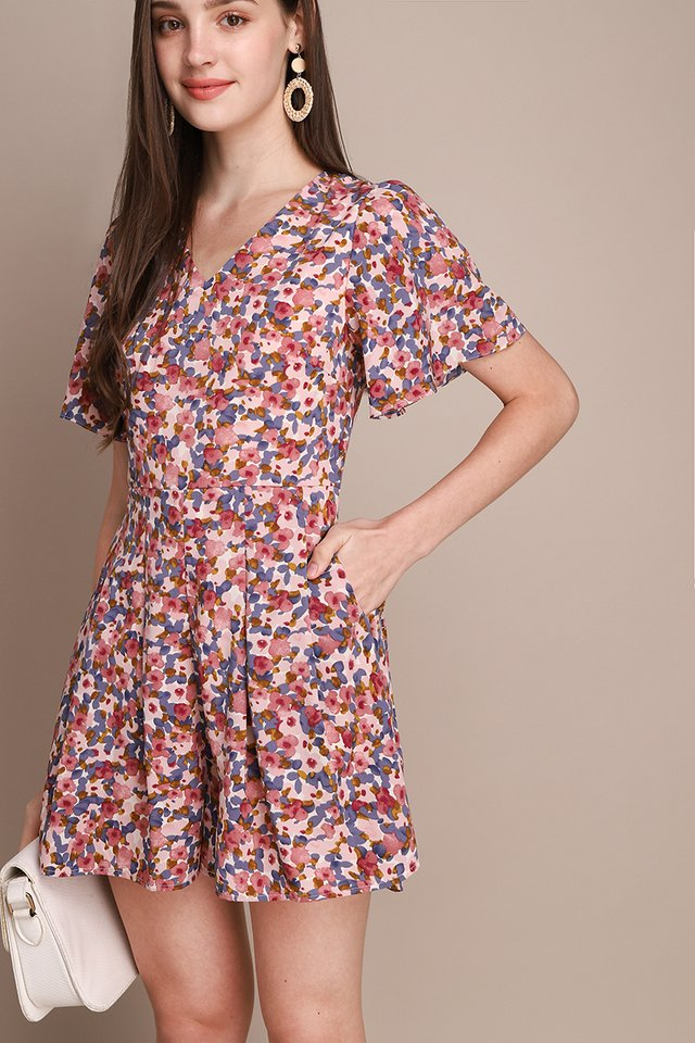 Sunrise Magic Romper In Rose Florals