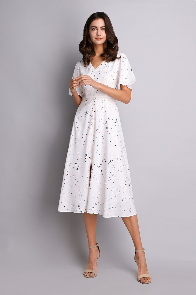 Here Comes Sassy Dress In White Prints