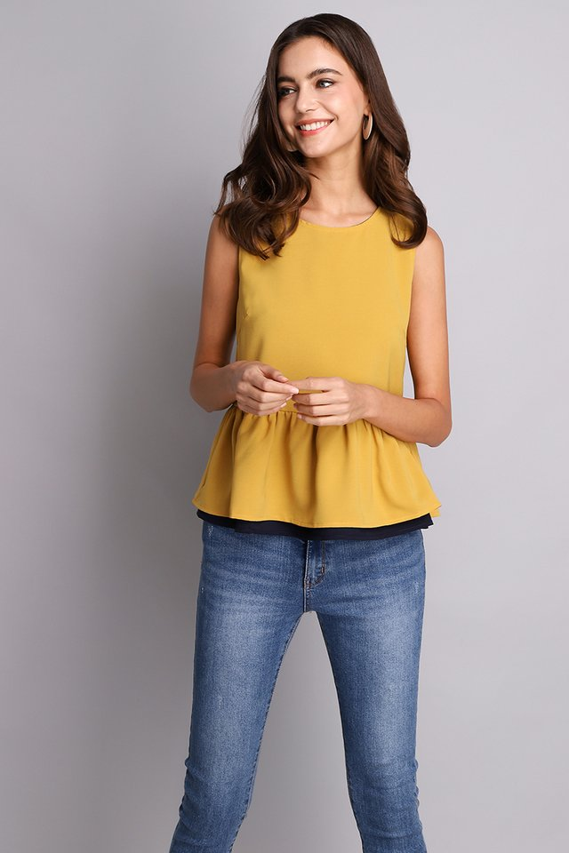 Okay Dokay Top In Mustard Blue