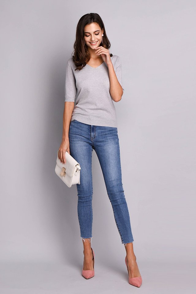 Amber Top In Heather Grey