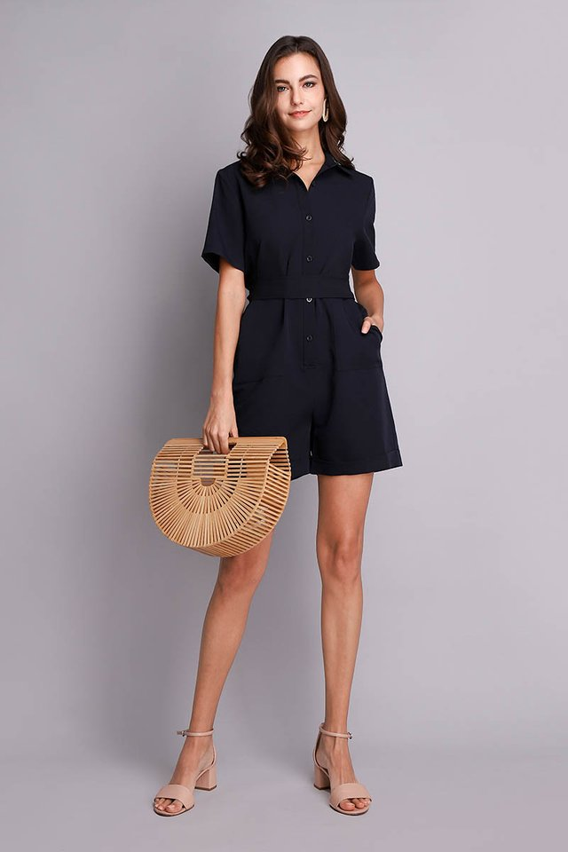 Florida Getaway Romper In Navy Blue