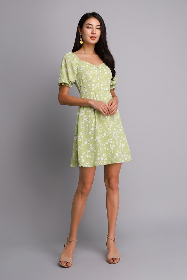 [BO] Pocketful Of Daisies Dress In Apple Green