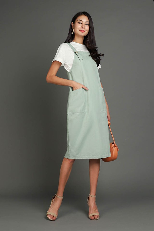 Adventures Of Huckleberry Dress In Sage Green