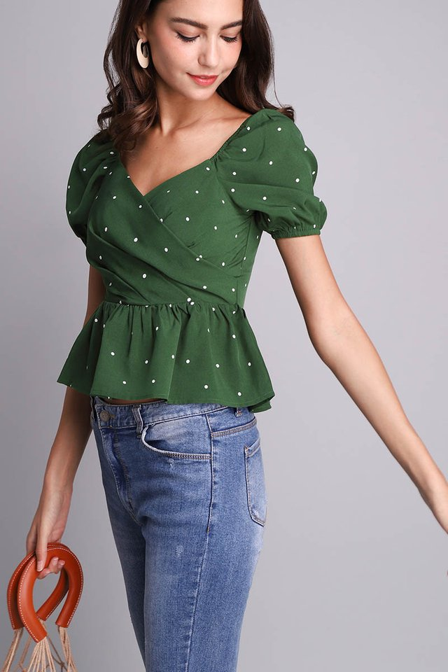 Sweet Little Things Top In Forest Dots