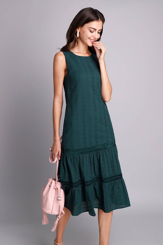 Mesmerized By You Dress In Forest Green