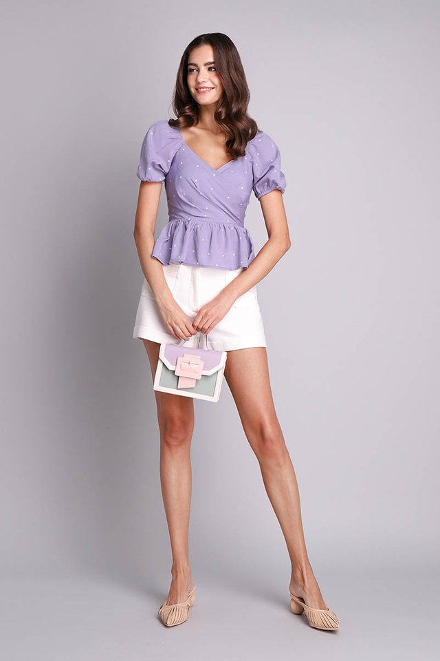 Sweet Little Things Top In Lilac Dots