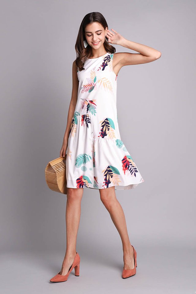 Tropical Summer Dress In White Prints