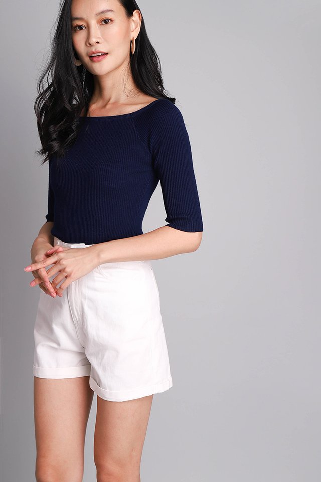 Paige Top In Navy Blue
