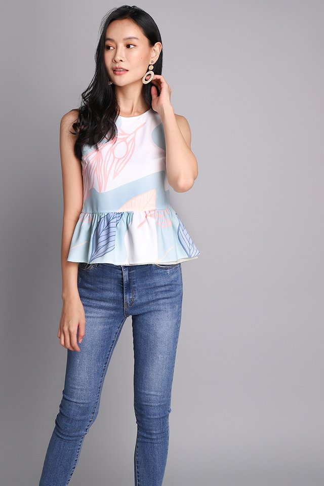 Okay Dokay Top In Pastel Prints