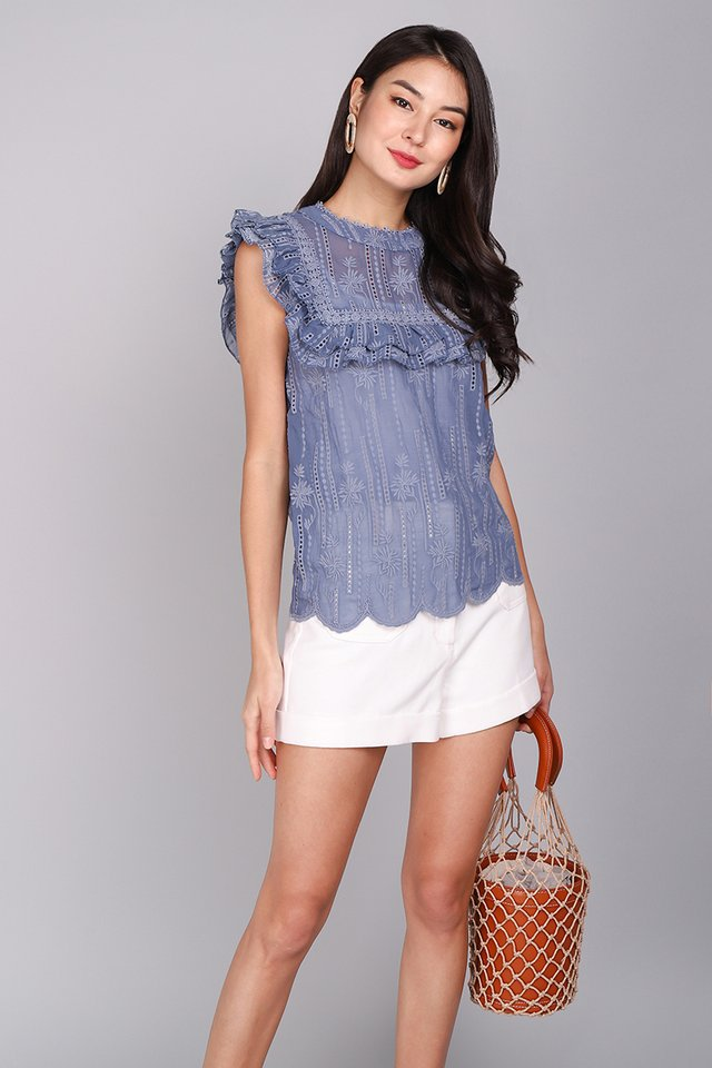 Gilded Nights Top In Muted Blue